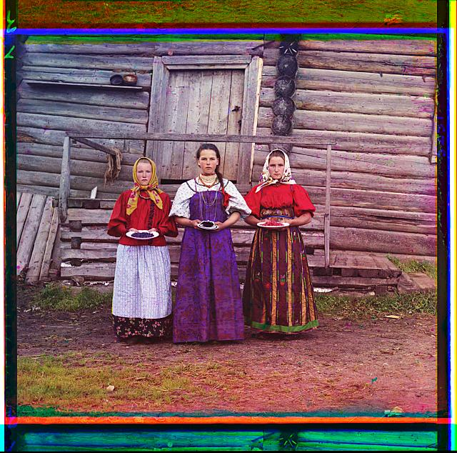 Peasant girls. Volga, Baltic Waterway, Russia.