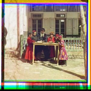 Group of Jewish children with a teacher. Samargand, Uzbekistan.