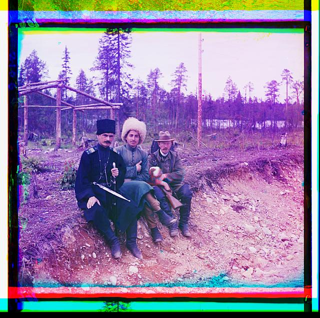 Group. (Myself with two others, Murman). Self portrait of Sergeĭ Mikhaĭlovich Prokudin-Gorskiĭ. Karelia, Russia.